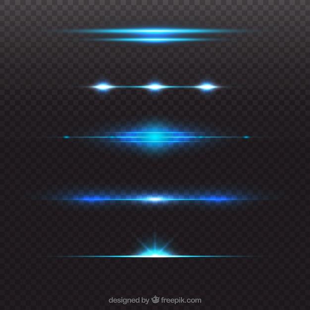 Coleção de divisor de reflexo de lente azul brilhante Vetor grátis