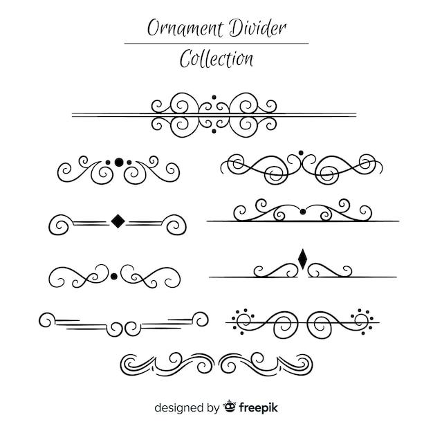 Coleção de divisores de ornamento de mão desenhada Vetor grátis