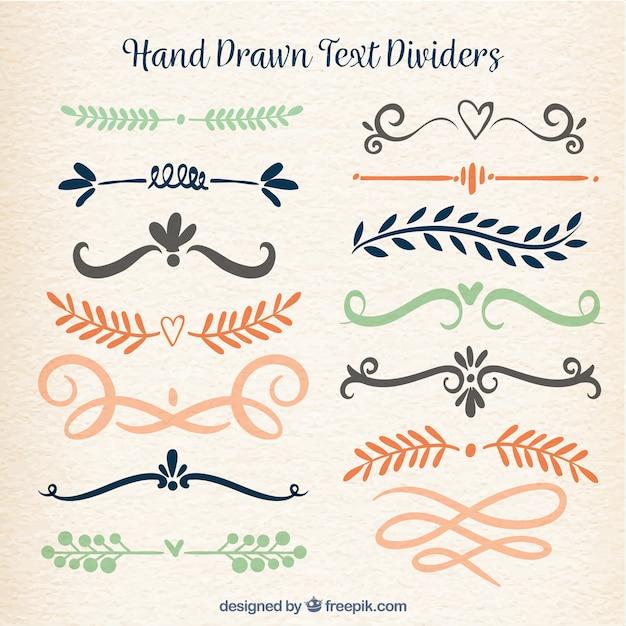 Coleção de divisores de texto em estilo desenhado a mão Vetor grátis