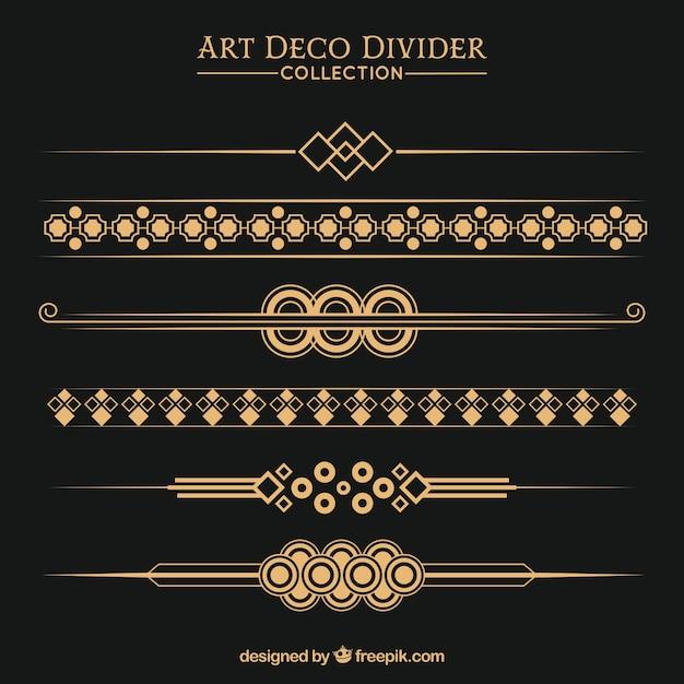 Coleção de divisores em estilo art déco Vetor grátis