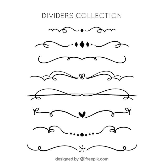 Coleção de divisores na mão desenhada estilo Vetor grátis