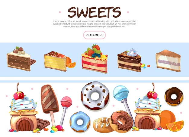 Coleção de doces de desenho animado Vetor grátis