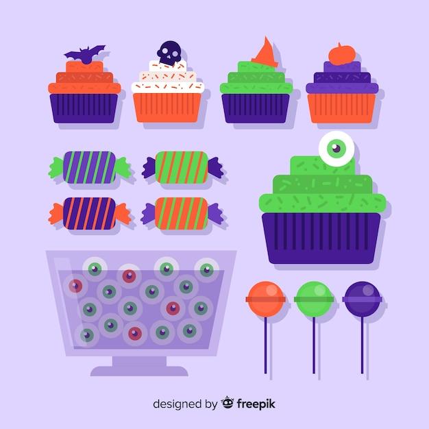 Coleção de doces de halloween colorido com design plano Vetor grátis