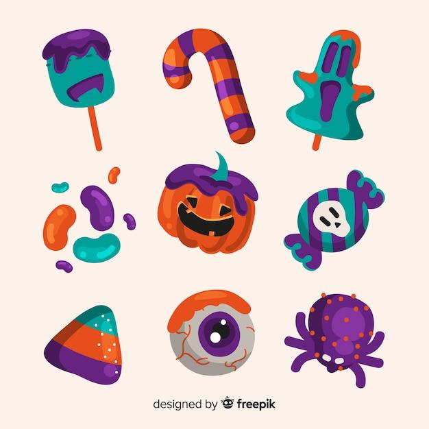 Coleção de doces de halloween de mão desenhada Vetor grátis