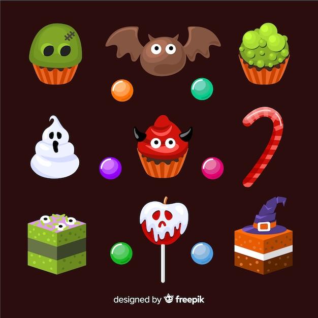 Coleção de doces de halloween design plano Vetor grátis