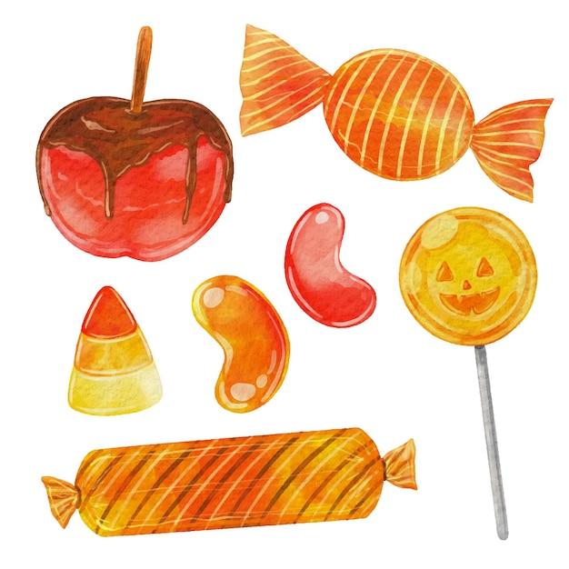 Coleção de doces de halloween em aquarela Vetor Premium