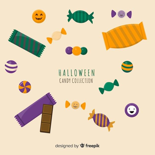 Coleção de doces de halloween plana Vetor grátis