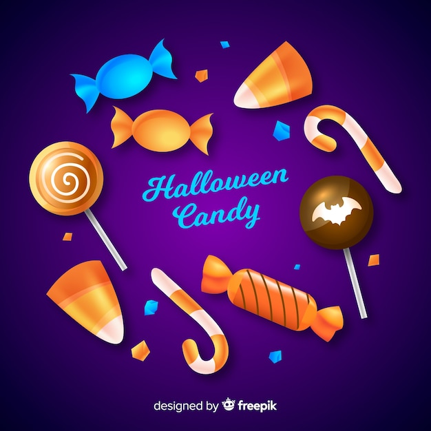 Coleção de doces de halloween realistas Vetor grátis