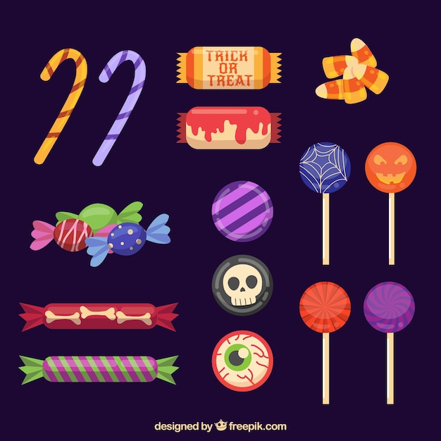 Coleção de doces de halloween Vetor grátis