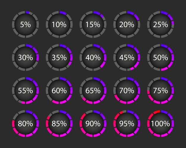 Coleção de downloads em porcentagem. carregamento do círculo de progresso. elementos Vetor Premium