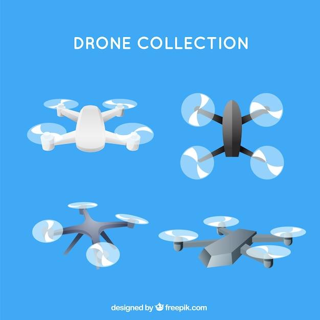 Coleção de drone com design plano Vetor grátis