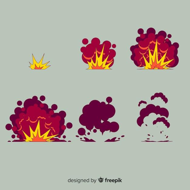 Coleção de efeito de explosão de mão desenhada dos desenhos animados Vetor grátis