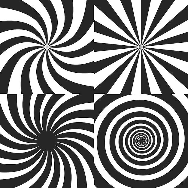 Coleção de efeito espiral psicodélico Vetor Premium