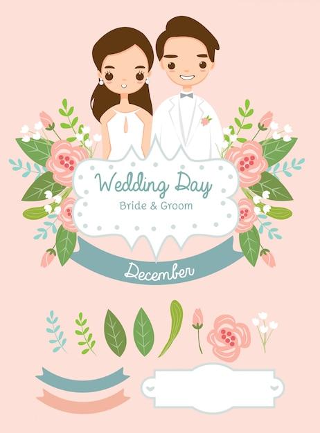 Coleção de elemento de casamento para cartão de convites de casamento Vetor Premium