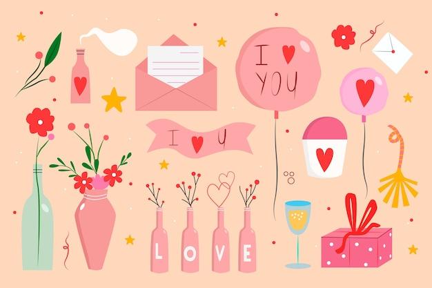 Coleção de elemento de dia dos namorados desenhada Vetor grátis