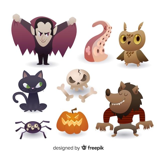 Coleção de elemento de halloween realista dos desenhos animados Vetor Premium