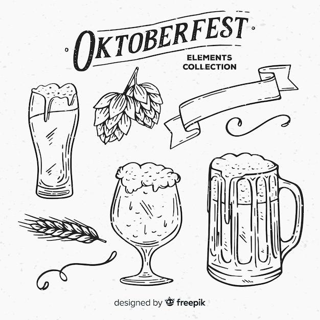 Coleção de elemento de oktoberfest desenhada mão clássico Vetor grátis
