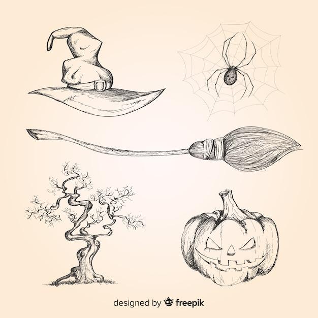 Coleção de elemento halloween realista mão desenhada Vetor grátis