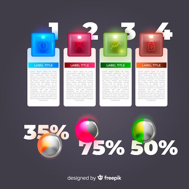 Coleção de elemento infográfico plástico brilhante realista Vetor grátis