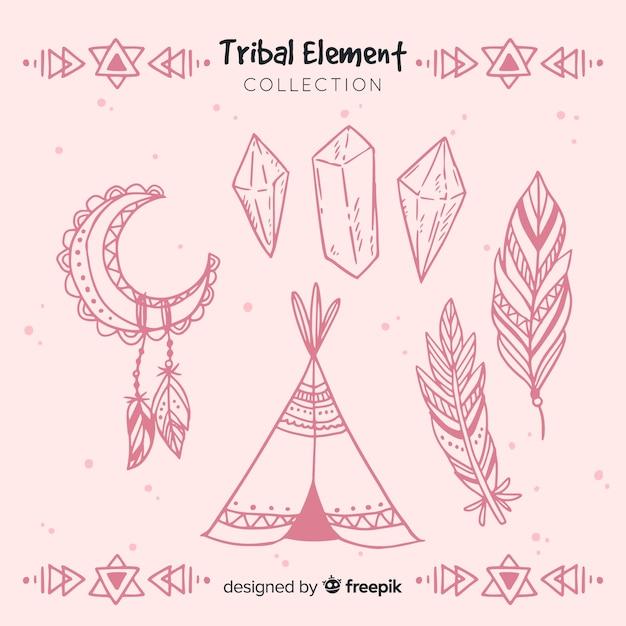 Coleção de elemento tribal desenhada de mão Vetor grátis