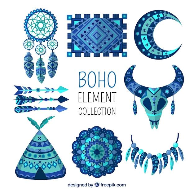 Coleção de elementos boho com design plano Vetor grátis