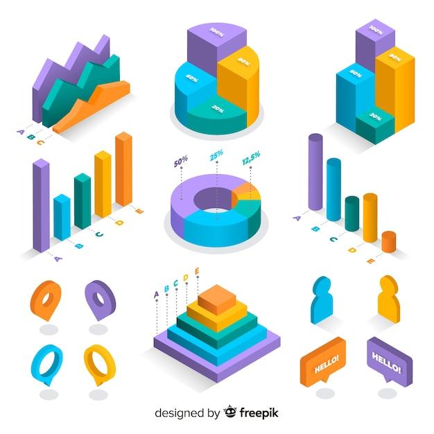 Coleção de elementos coloridos infográfico isométrica Vetor grátis