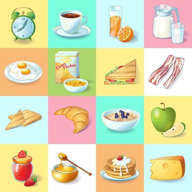 Coleção de elementos coloridos pequeno-almoço tradicional com pratos saudáveis de despertador e bebidas de manhã em quadrados isolados Vetor grátis
