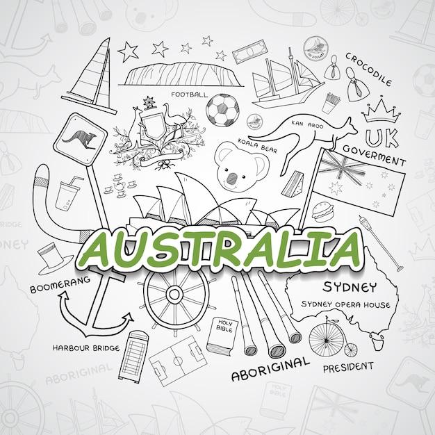 Coleção de elementos da austrália Vetor grátis