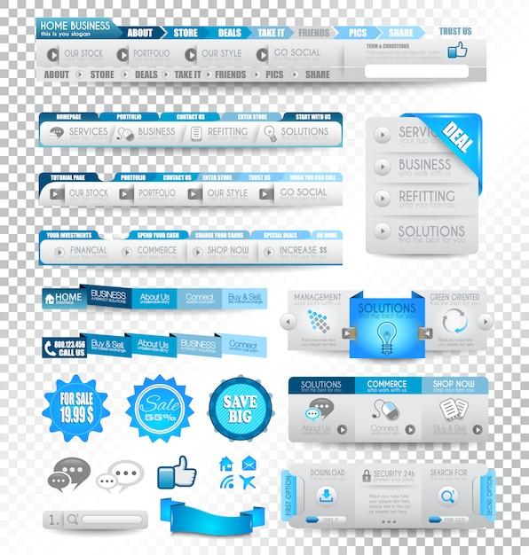 Coleção de elementos da web: itens de menu Vetor Premium