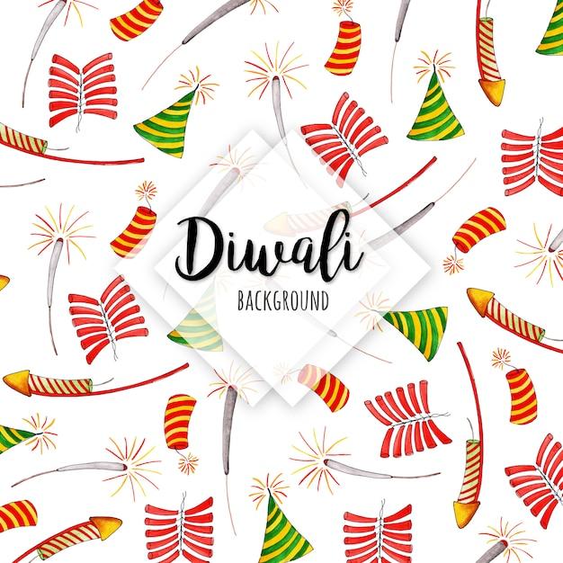 Coleção de elementos de aquarela diwali Vetor Premium