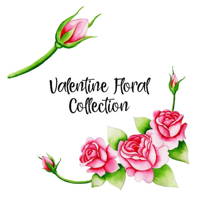 Coleção de elementos de aquarela dos namorados Vetor Premium
