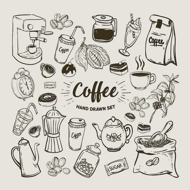 Coleção de elementos de café Vetor Premium
