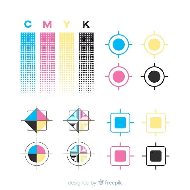 Coleção de elementos de calibração cmyk Vetor grátis