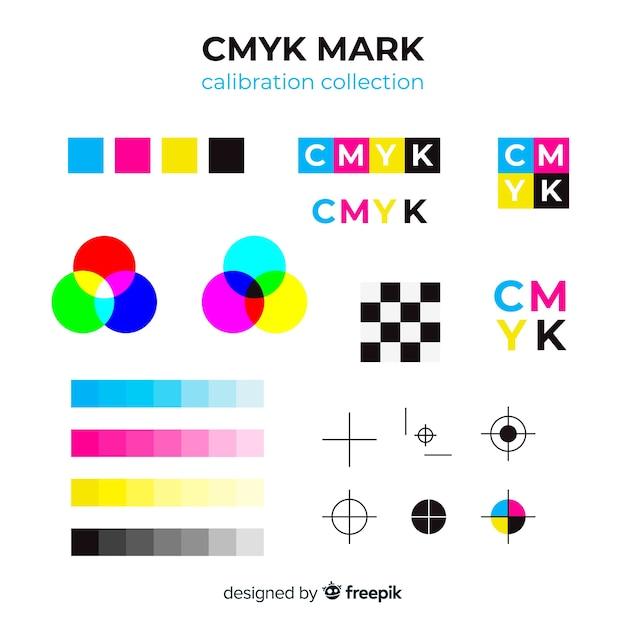 Coleção de elementos de calibração cmyk Vetor Premium