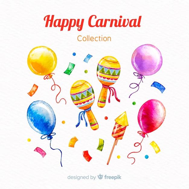 Coleção de elementos de carnaval em aquarela Vetor grátis