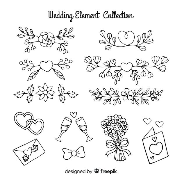 Coleção de elementos de casamento Vetor grátis