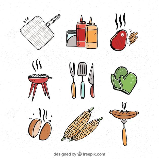 Coleção de elementos de churrasco com comida e ferramentas Vetor grátis
