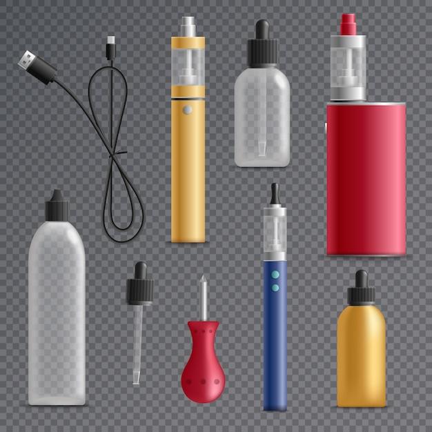 Coleção de elementos de cigarro eletrônico Vetor grátis
