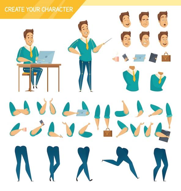 Coleção de elementos de construtor de criador de personagem de trabalhador masculino de escritório com cabeças de pernas de mãos e acessórios isolados Vetor grátis