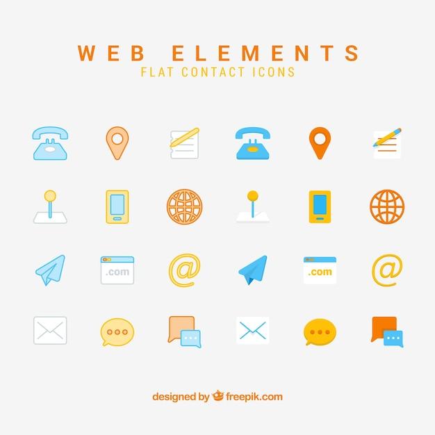 Coleção de elementos de contacto Vetor grátis