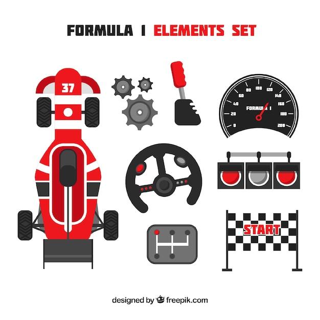 Coleção de elementos de corrida f1 Vetor grátis