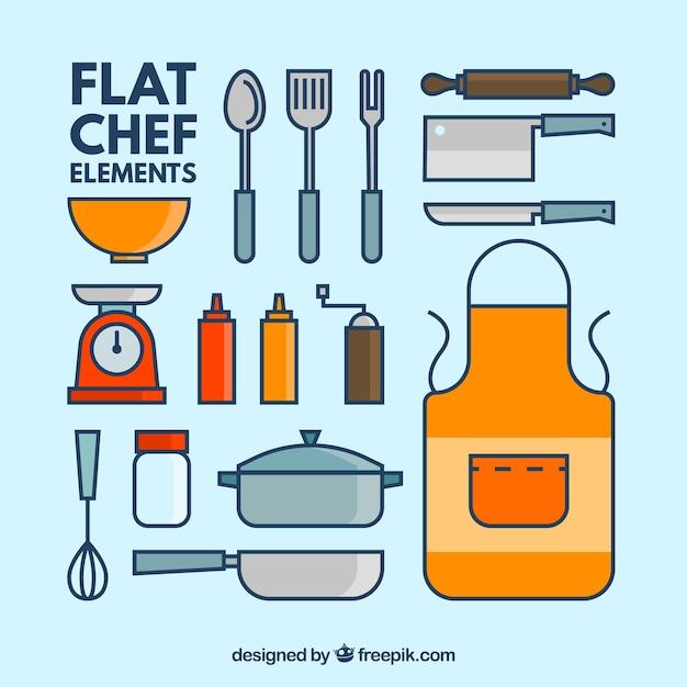 Coleção de elementos de cozinha Vetor grátis