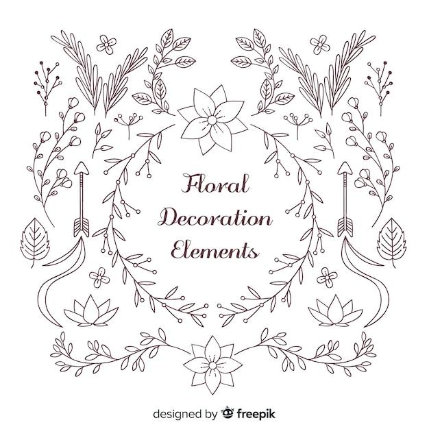 Coleção de elementos de decoração floral Vetor grátis