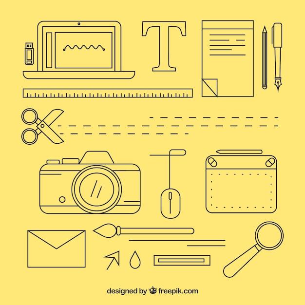 Coleção de elementos de design gráfico em estilo simples Vetor grátis