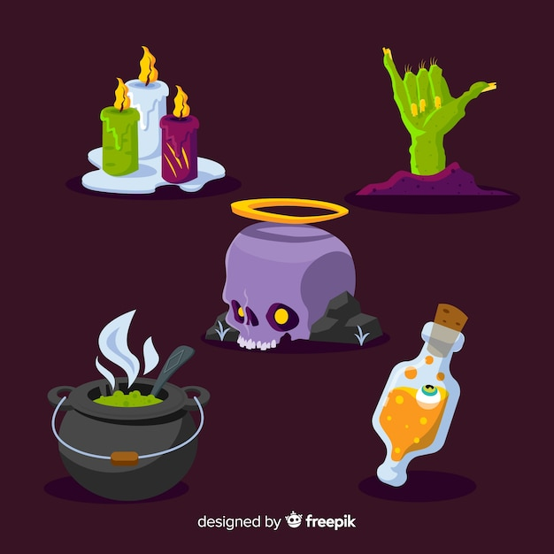 Coleção de elementos de design plano halloween Vetor grátis
