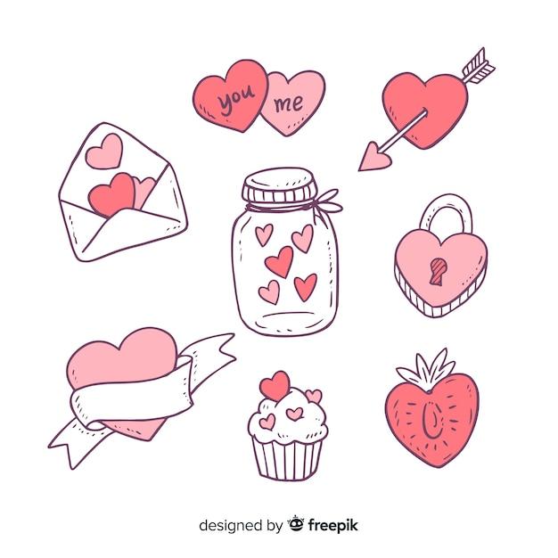Coleção de elementos de doodle de dia dos namorados Vetor grátis