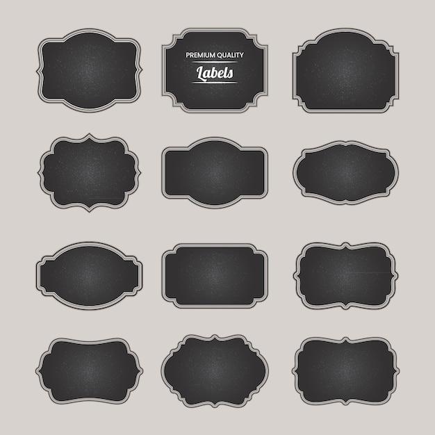Coleção de elementos de emblemas em branco do quadro-negro Vetor Premium