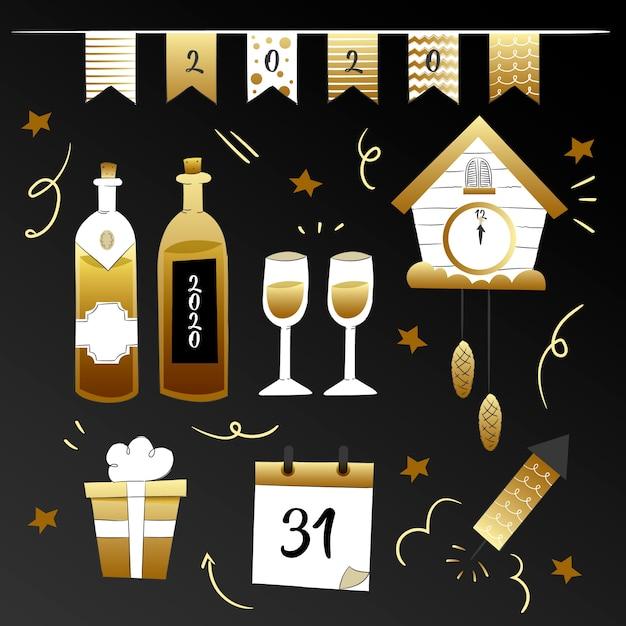 Coleção de elementos de festa de ano novo de mão desenhada Vetor grátis