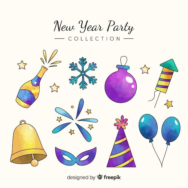 Coleção de elementos de festa de ano novo Vetor grátis