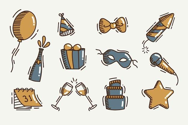 Coleção de elementos de festa vintage ano novo Vetor grátis